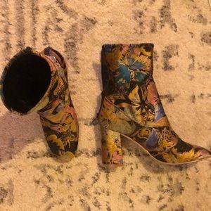 ASOS jacquard metallic print ankle boot